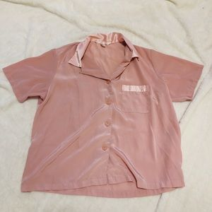 VICTORIA'S SECRET pink silky collared top